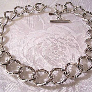 Monet Silver Curb Link Chain Necklace Toggle Bar